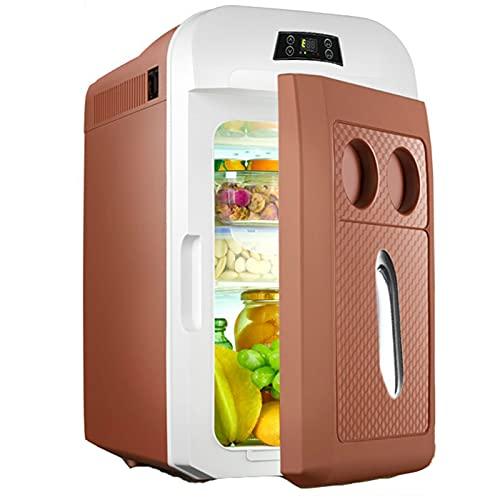Caja frigorífica eléctrica de mini coche, refrigerador 15L, camión 2 4V / 12V / 220-240V Nevera portátil, caja fría, viajes de conducción de larga distancia y viajes de camping 0721 ( Color : Brown )