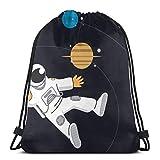 LREFON Bolsas con cordón de gimnasio Mochila Sciense Astronomy Sackpack Tote para almacenamiento de viaje Organizador de zapatos Bolsas de regalo de ahorro para niños