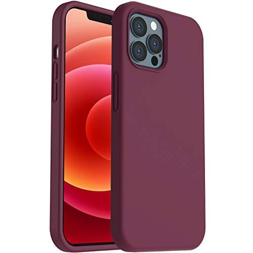 """ORNARTO Funda para iPhone 12/Pro 6,1"""" de Silicona Líquida Reforzada, Protección de Cuerpo Completo de Goma Antichoque Bumper de Protección Case para iPhone 12 Pro/ 12(2020) 6,1 Vino Rojo"""