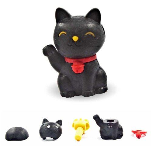 Gomme noire Lucky Cat, Maneki Neko, Japon