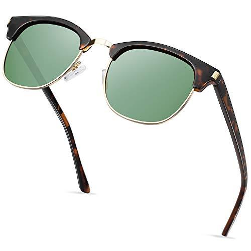 Óculos de sol polarizados semi sem aro para mulheres e homens, óculos de sol unissex com meia armação - Lente Verde