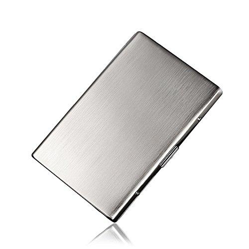 NACHEN Zigarettenetui aus Edelstahl Slim Hochwertig Hosentasche Gebürstet zigarettenbox Hält 12 Schlanke Zigaretten,Silver,106X73x10mm