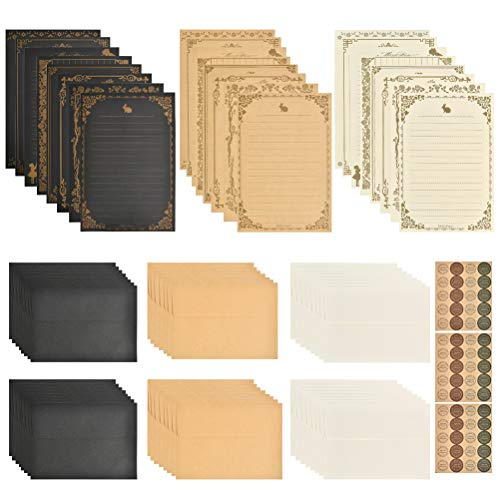 OFNMY 9 Sets of Vintage Stationary Paper + Envelopes, Writing Stationery Paper Letter Set - 96 Sheets of Vintage Letter Papers, 48 Envelopes, 60 Sealing Stickers