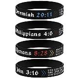 Sainstone 4-Pack Power of Faith Christian Bible Verse Silicone Bracelets - Jeremiah 29:11, John 3:16, Philippians 4:6, Romans 8:28 - Religious Scriptures Wristbands Church Gifts, Adult for Men Women