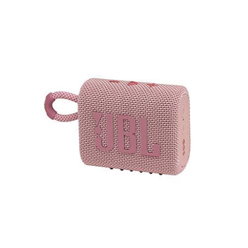 JBL GO 3 kleine Bluetooth Box in Pink – Wasserfester, tragbarer Lautsprecher für unterwegs – Bis zu 5h Wiedergabezeit mit nur einer Akkuladung