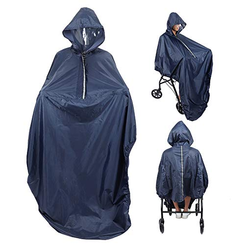 Regenschutz Regenmantel Wasserdichte Universal Rollstuhl Regenhülle, Gesundheitswesen Ultraleichter Rollstuhl mit Kapuze, gefüttertem Poncho Schutz Gemütlicher winddichter Regenmantel