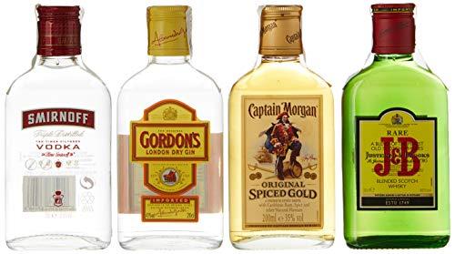Diageo Kit de Fiesta con J&B Rare, Gordon Dry Gin, Smirnoff Red y Captain Morgan - Total: 800 ml