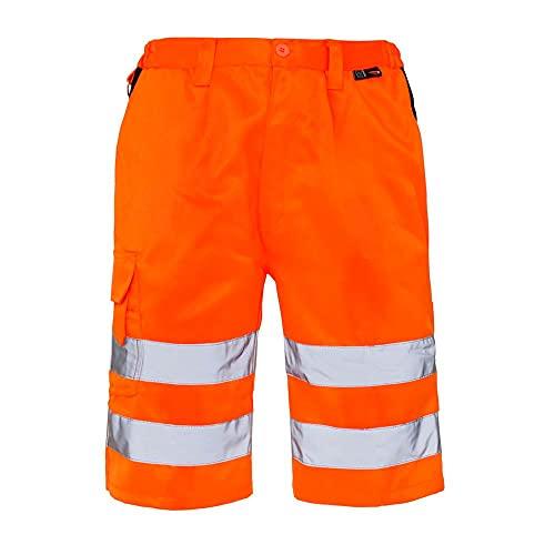 Expert Workwear Pantalones cortos de combate Hi Vis Poly-Algodón de alta visibilidad Seguridad Trabajo abajo con bolsillos para herramientas para bolígrafo de teléfono EN ISO 20471