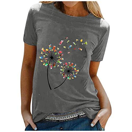 Camiseta de verano para mujer, parte superior informal y multicolor, estampado de flores, manga corta, informal, básica, elegante, suelta, para uso diario Gris oscuro. M