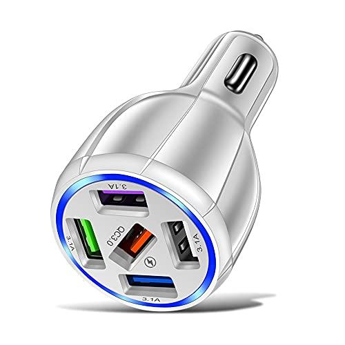 XCDZ Cargador de coche de carga rápida USB de 5 puertos, Cargador de teléfono móvil de carga rápida de coche redondo inteligente 5V, Cargador de coche de carga rápida QC3.0
