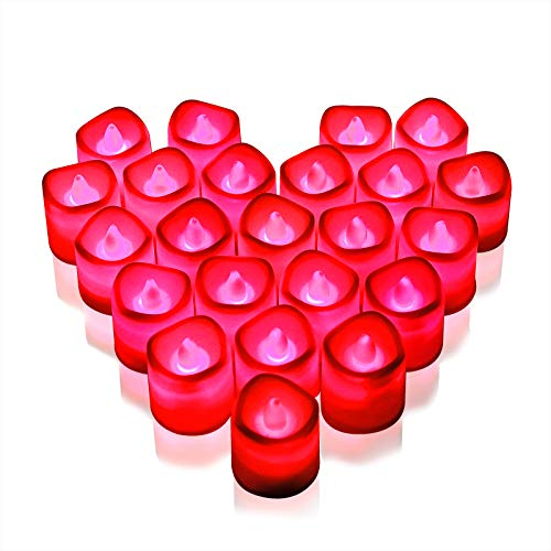 Rakumi Red LED Candles, Flameless Red LED Tea Lights, Battery Operated LED Votive Candles for Valentine's Day Wedding Birthday Party, 24 Packs