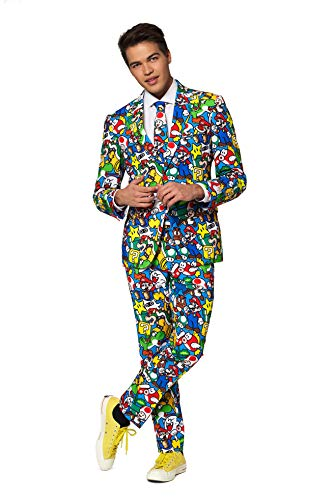 OppoSuits Herren Crazy Prom Suits for Men – Super Mario – Comes with Jacket, Pants and Tie In Funny Designs Herrenanzug, Mehrfarbig, 27