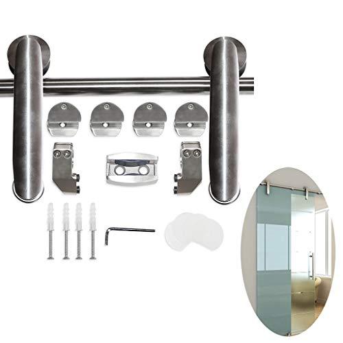 Binario Per Porta Scorrevole Kit Asta appendiabiti in vetro muto 5ft-16,4ft - Kit hardware completo in acciaio inossidabile, Pista della puleggia su rotaia per porta scorrevole per WC / cucina, carico