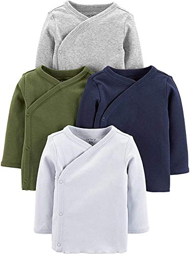 Carters Baby Boys 4-Pack Cotton Kimono Tees (3 Months, Green/Navy/Heather)