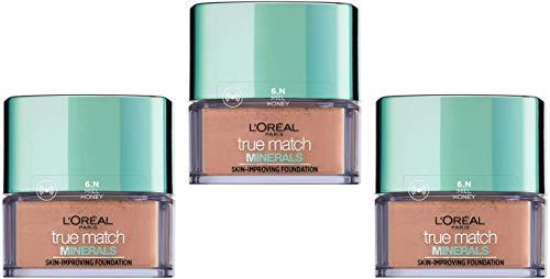 L\'Oréal Paris Perfect Match Minerals Puder-Foundation 6.N Miel, 3er Pack