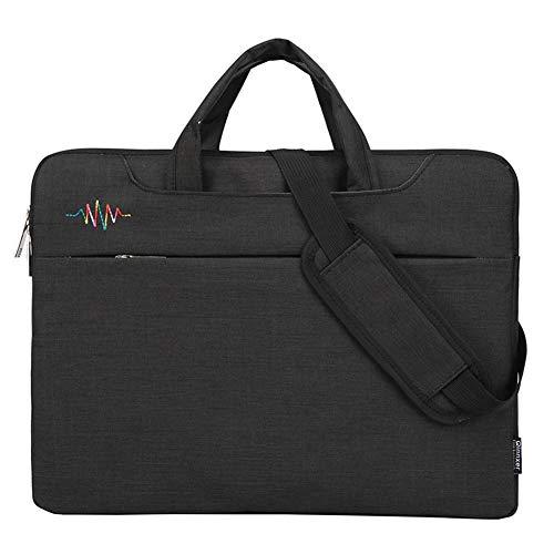GUOCU 11-15.6 Pulgadas Mujer Hombre Bolso de Bandolera/Maletín/Mensajero Funda para Laptop Macbook Air iPad Portátil Moda y Negocios,Negro,13