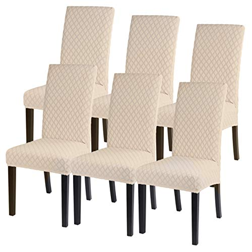 SearchI Dining Chair Covers Stretch Jacquard Parsons Chair Slipcovers Seat Protector Set of 6, Removable Washable Spandex Kitchen Chair Covers for...