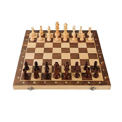NZKW Juego de Tablero de ajedrez de Madera de ajedrez, Juego de Piezas de ajedrez magnético de Viaje con Tablero de ajedrez Plegable, Tablero de Almacenamiento portátil, Juego de ajedre