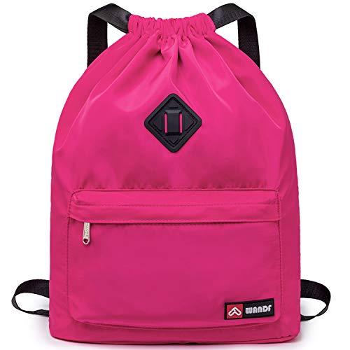 WANDF Drawstring Backpack with Shoe Pocket, String Bag Sackpack Cinch Water Resistant Nylon for Gym Shopping Sport Yoga (DeepPink)