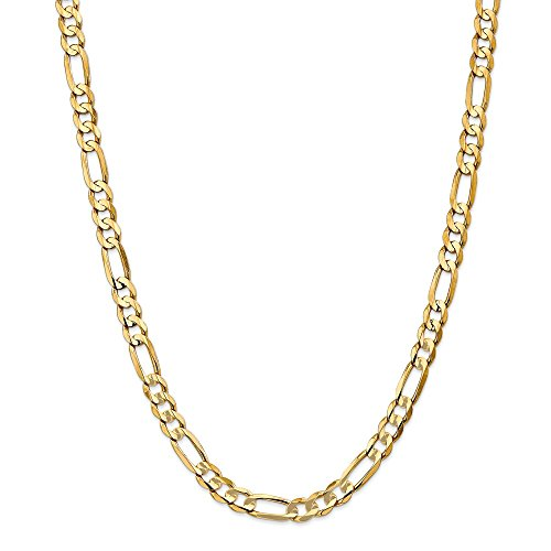 Photo of 14ct Yellow Gold 6.75mm Concave Open Figaro Chain Necklace 24 inch for Men Women