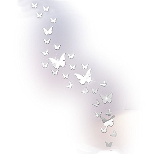 Butterfly Mirror Wall Stickers Decals,Crystal Acrylic Wall Decals DIY for Living Room Bedroom Bathroom (Silver Mirror)