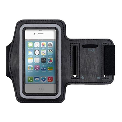 kwmobile Sport Armband für Apple iPhone 4 / 4S - Jogging Lauf Sporttasche Fitnessband mit Schlüsselfach im Sportarmband in Schwarz