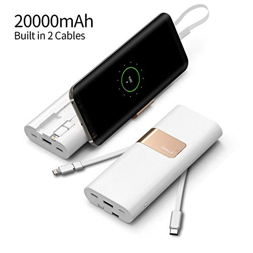 iWALK 20000mAh Portable Charger QC3.0 Power Bank Built-in USB C & Micro USB Cables, External Battery Pack Compatible with iPhone 11 XS Max 8 7 6 Plus,Samsung S9/S8 Nintendo Switch and More,White