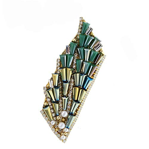 wangk Green Color Crystal Bead Leaf Brooches For Women Hand Made Jewelry Coat Accessories Wedding Pin Bead Brooch