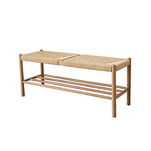 GUOCAO Zapatero otomano de madera con asiento hecho a mano y sin pie (color : madera, tamaño: 110 x 35 x 45 cm) para el hogar