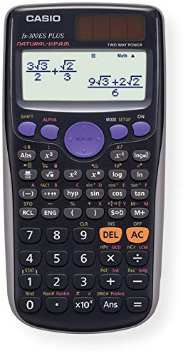 Casio fx-300ES PLUS Scientific Calculator; SAT Compatible; Natural Textbook Display; Math, Trigonometry, Statistics, Algebra, Geometry and Physics Functions; Comes with Slide-on Hard Case; Black