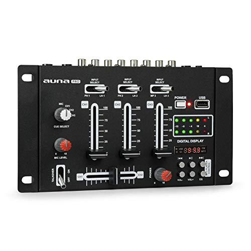 resident dj DJ-21 - DJ-Mixer, 3/2-Kanal Mischpult, DJ-Mischpult, USB-Port, MP3-fähig, 2 x Cinch-Phono/Line-Eingang, CUE-Regler, Mikrofonsektion, XLR-/Klinken-Eingänge, Rackmontage, schwarz