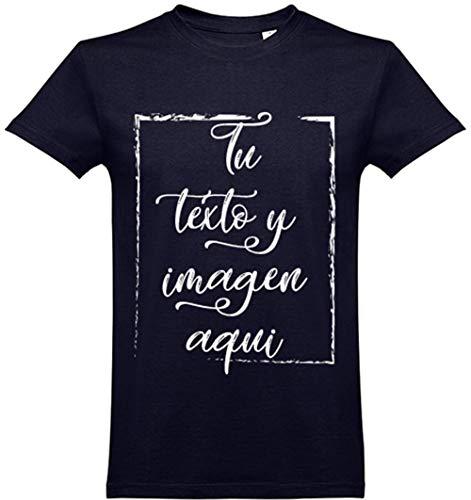 Oneroi Custom Camisetas Camiseta Personalizada con Foto, t-Shirt Personalizable con imagenes y Texto (Marino, XL)