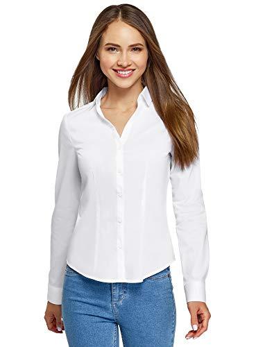 oodji Ultra Damen Hemd Basic mit V-Ausschnitt, Weiß, DE 36 / EU 38 / S