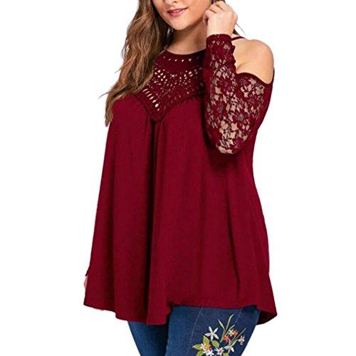 Bekleidung AMUSTER Damen Sexy Lace Langarm Pullover Plus Size Trägerlos Bluse Pullover mit Rundhalsausschnitt Frühling Sommer Oberteil Tuniken Loose Fit Hemd (3XL, Weinrot)