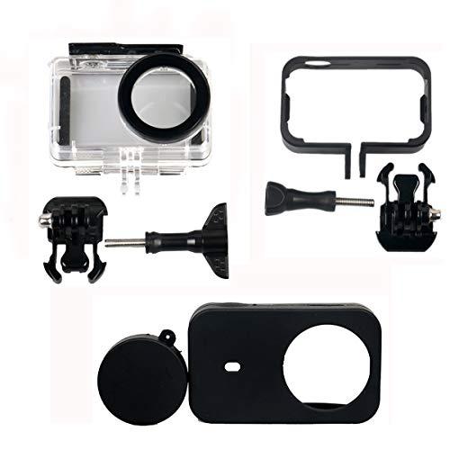 Kingwon 4 in 1 Protector-Zubehörkit für XIAOMI MIJIA 4K Mini Action-Kamera - Wasserdichte Schutzhülle + Kunststoff-Rahmenhülle + Silikonhülle + Objektivabdeckung