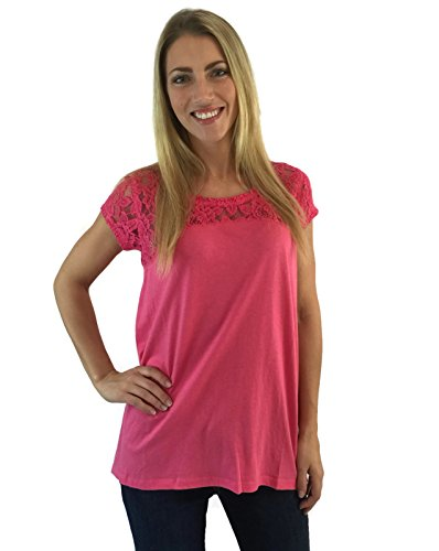 DKNY Jeans Women's Short Sleeve Relaxed Fit Latest Fashion Signature Soft Lace Top Pink L