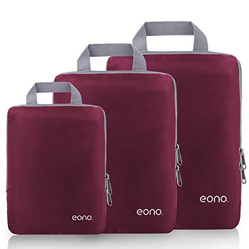 Amazon Brand - Eono Organiseurs de Bagage, Bagage Sac Compression pour Voyage Maquillqage Vêtement, Sac Organisateur Rangement de Valise, Compression Packing Cubes - Bourgogne, 3-Set
