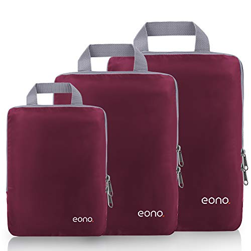 Eono by Amazon - Compression Packing Cubes, Travel Luggage Organiser Set, Travel Cubes, Extensible Organizer Bags for Travel Suitcase Organization, Burgundy, 3 Set