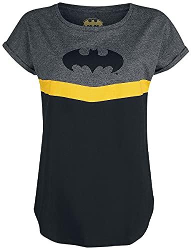 Batman Mujer Camiseta Jaspeado Negro/Gris M, 100% algodón, Regular