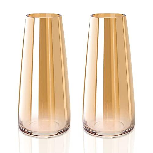Vaso in vetro,Vaso Grande Alto per Fiori,Vaso in vetro trasparente alto ,Vasi Decorativi, vaso conico, 10 x 6,5 x 22 cm, spessore 0,3 mm, oro smaltato (2 pezzi)