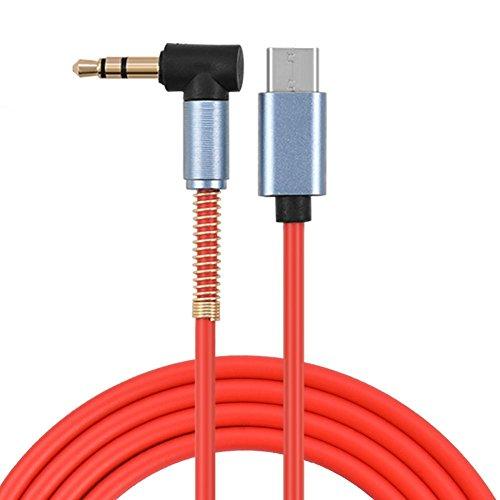 VBESTLIFE type C naar 3,5 mm audio extra kabel, USB C naar 3,5 mm stekker extra hoofdtelefoon L-vormige rechthoekige audiokabel, 1M / 3.3ft,2 stuks, rood