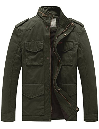 WenVen Men's Cotton Military Stand Collar Field Jacket (Army Green, Small)