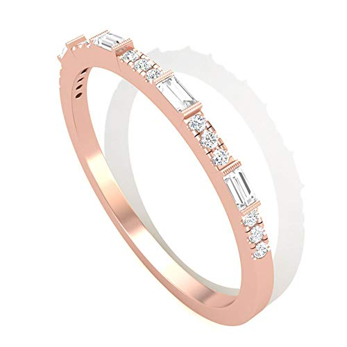 Anillo redondo Baguette con certificado SGL, anillo de novia, boda, aniversario, boda, boda, aniversario, media eternidad, único, apilable, 14K Oro rosa, Size:EU 56