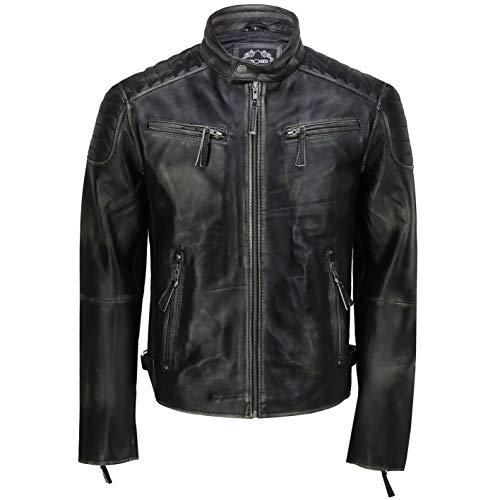 Chaqueta de cuero auténtico para hombre, estilo retro, estilo vintage, estilo vintage, estilo bombardero