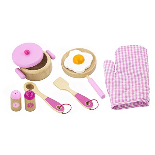 Viga Children's Wooden Kitchen Cooking Set - Pretend Play, Wooden Pots &...