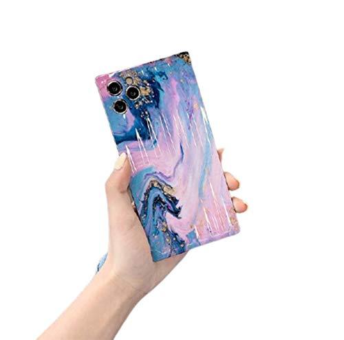 WODETIAN Caja Cuadrada Compatible con Carcasa iPhone 11 / 11Pro / 11 Pro MAX Tinta Color Mármol Textura Suave TPU Caso Ultra Delgado Gel Silicona Protector Bumper Cubierta,Rosado,11pro MAX