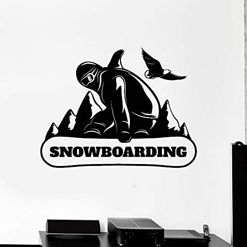YuanMinglu Snowboard Snowboard Mountain Extreme Sport Vinyl Wand Applique Wandaufkleber Dekoration Wohnzimmer 48X63 cm