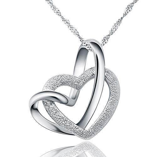 Boenxuan Damen Herz Kette 925 Silber Anhänger Halskette Doppel Liebe Herzen, Für Damen/Frau/Freundin/Tochter,Silber