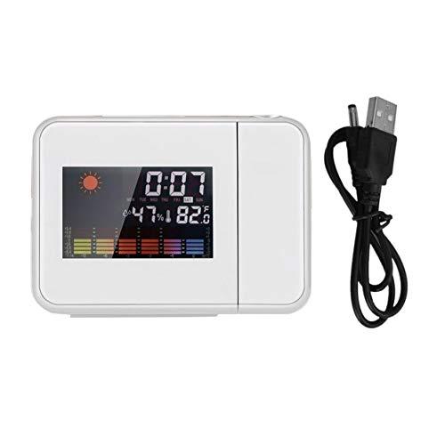 Detectoy Proyección portátil Digital Weather LCD Snooze Reloj Despertador Pantalla a Color con retroiluminación LED Probador de Temperatura y Humedad