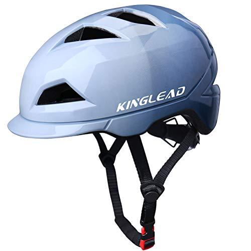 KINGLEAD Fahrradhelm mit wiederaufladbarem LED-Licht, Unisex Geschützter Fahrradhelm Radfahren Rennen Skateboarden Outdoor-Sicherheit Superleicht Verstellbarer Fahrradhelm CE-Zertifikat (Blau)